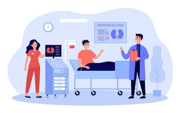 Paciente recebendo tratamento para doença renal ou diálise em design plano