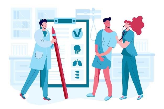 Paciente sendo examinado por um médico em uma clínica ilustrada