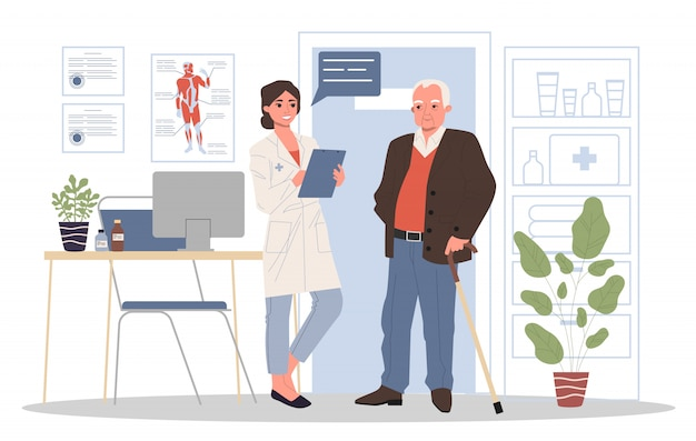 Paciente sênior, visitando o consultório médico