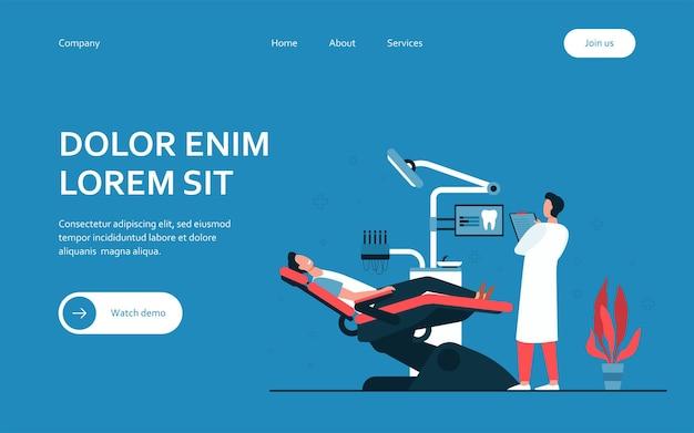 Paciente sentado na cadeira médica durante a visita ou tratamento modelo de página de destino isolado
