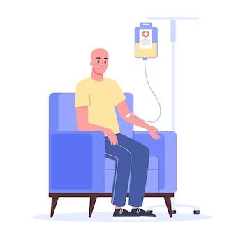 Paciente sofre de doença cancerosa. paciente de oncologia personagem masculino