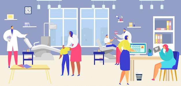 Paciente visita dentista, pessoas dos desenhos animados, visitando a clínica odontológica, exame de check-up ou tratamento de fundo