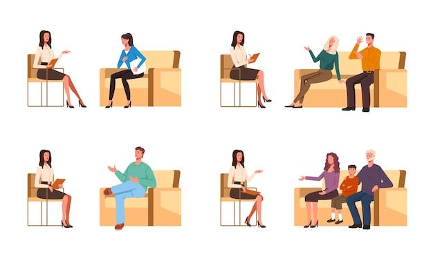 Pacientes conversando com psicólogo ilustração de design de personagens