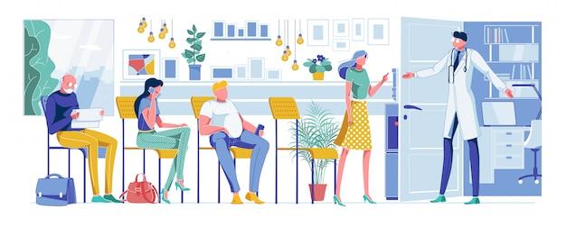 Pacientes de desenhos animados, à espera de consulta médica