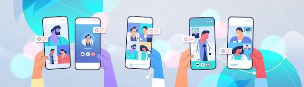 Pacientes discutindo com médicos nas telas dos smartphones durante a videochamada consulta on-line medicina conceito de saúde ilustração vetorial horizontal