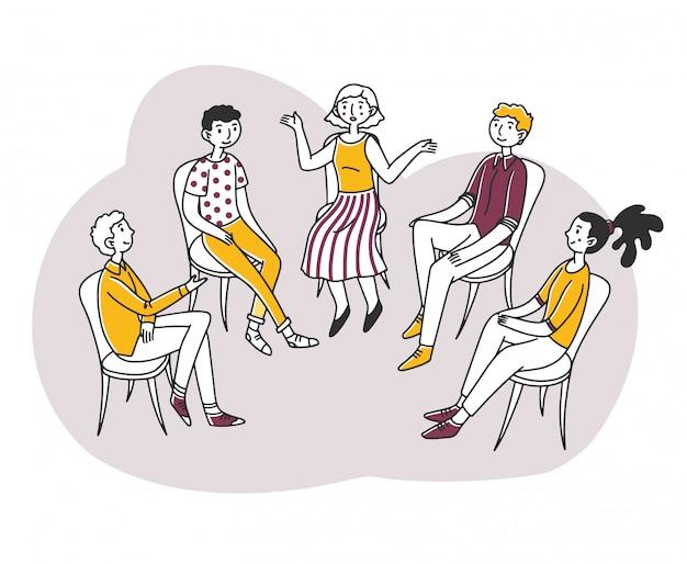 Pacientes discutindo seu problema psicológico ou de dependência