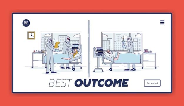 Pacientes doentes da página inicial da terapia intensiva