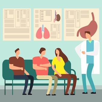 Pacientes e médico na sala de espera do hospital