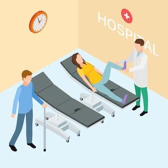 Pacientes e médico no hospital. conceito de reabilitação isométrica