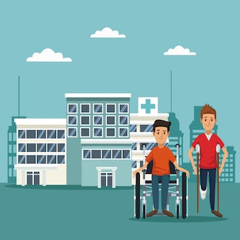 Pacientes em cadeira de rodas em muletas
