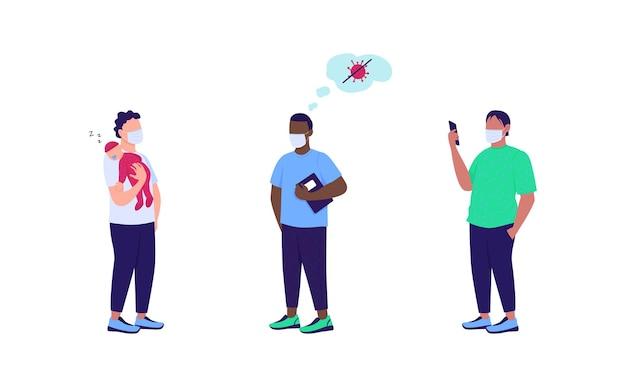 Pacientes em máscaras médicas conjunto de caracteres sem cor plana. impulso do sistema imunológico. anti vax. desenho animado isolado de cuidados de saúde