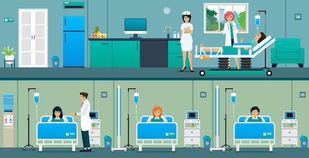 Pacientes em um quarto de hospital com uma grande sala e uma sala comum.