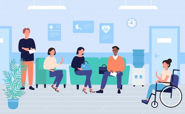 Pacientes na clínica sala de espera personagem plana ilustração, medicina e saúde