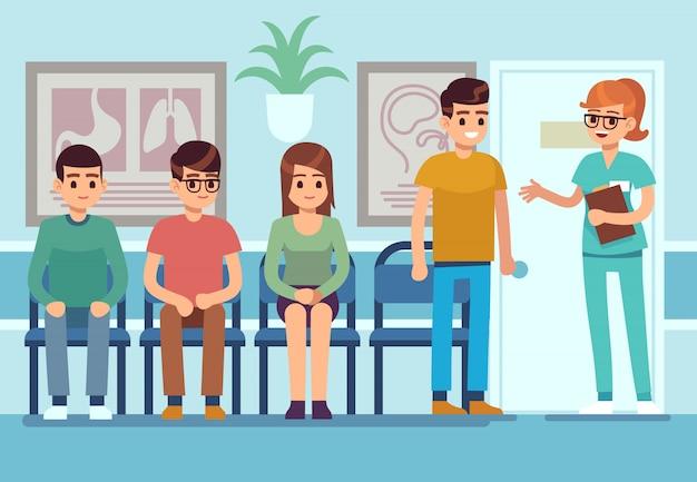 Pacientes na sala de espera de médicos. as pessoas esperam salão clínica corredor hospital ambulância serviço profissional, ilustração