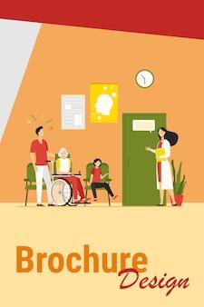 Pacientes no hospital esperando em ilustração vetorial plana de linha. personagens de desenhos animados conversando com uma enfermeira, assistente médico ou terapeuta no corredor. conceito de saúde, saúde e medicina