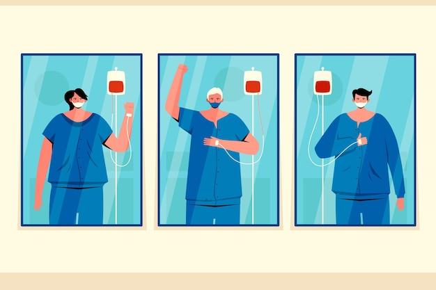 Pacientes positivos lutando contra o covid-19