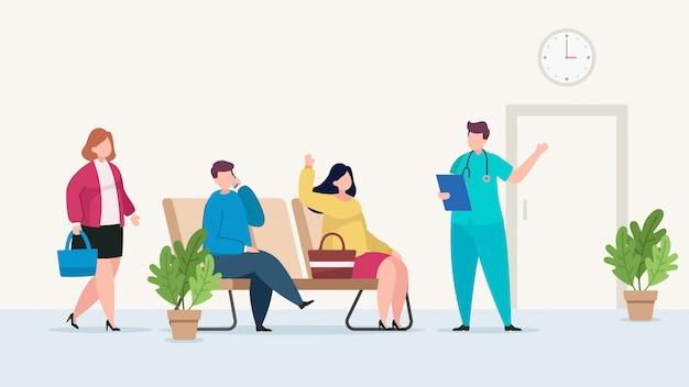 Pacientes que esperam ilustração de consulta médica
