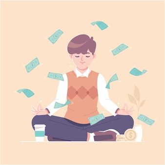 Pacífico fundo de ilustração de meditação monetária