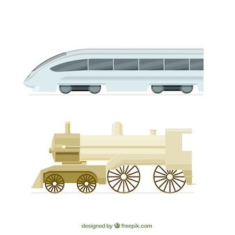Pack com trem moderno e locomotiva