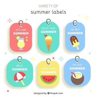 Pack de adesivos de verão em design plano