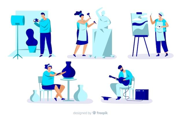 Pack de artistas no trabalho