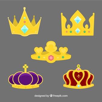 Pack de belas coroas de princesa com pedras preciosas