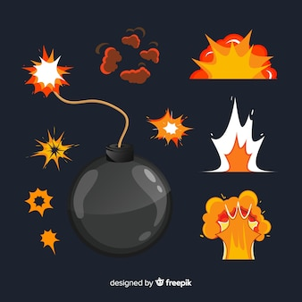 Pack de bombas e explosões estilo cartoon