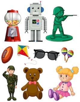 Pack de brinquedo isolado dos desenhos animados