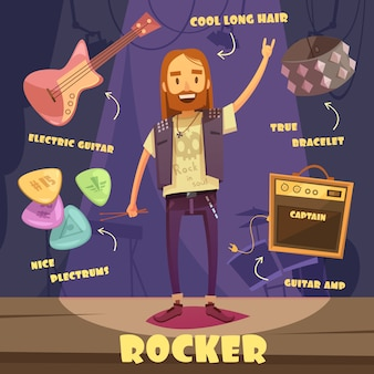 Pack de caracteres rocker para homem