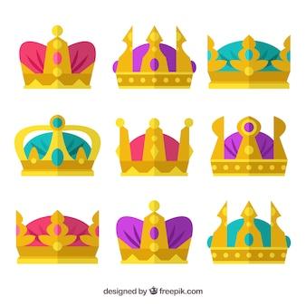 Pack de coroas de ouro com elementos coloridos