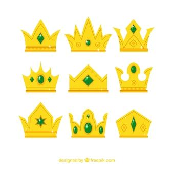 Pack de coroas de ouro com gemas verdes