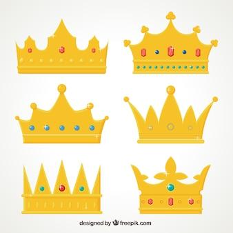 Pack de coroas de ouro com pedras preciosas