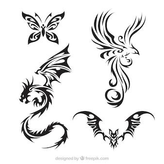 Pack de criaturas de tatuagem com asas
