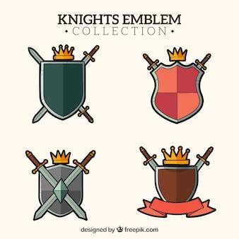 Pack de insígnias de cavaleiro com escudos e coroa