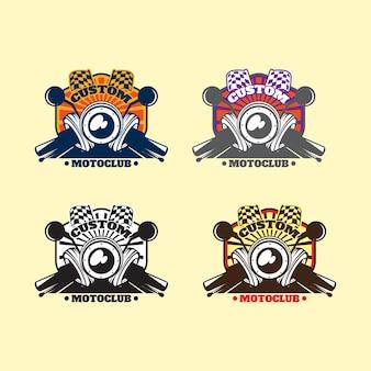 Pack de motoclub personalizado de emblema com estilo de cor diferente