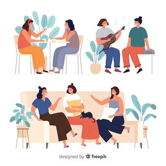 Pack de mulheres jovens a passar tempo juntos