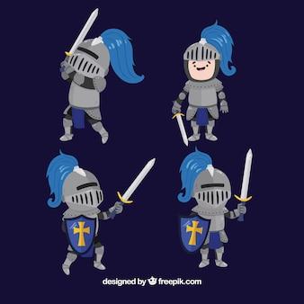 Pack de personagem de cavaleiro agradável em diferentes posturas
