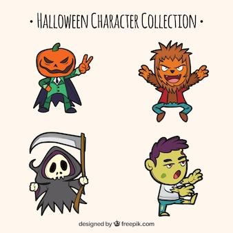 Pack de personagens desenhados a mão do dia das bruxas
