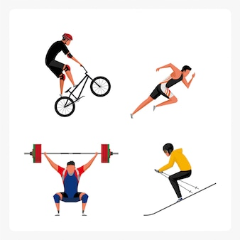 Pack de personagens do esporte em Design plano