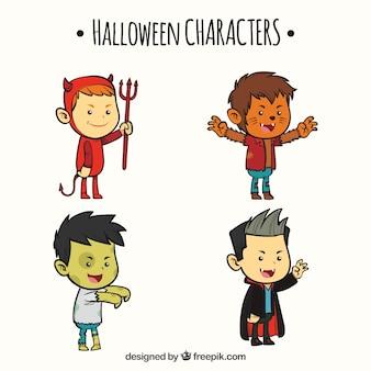 Pack de quatro crianças disfarçadas de personagens de halloween