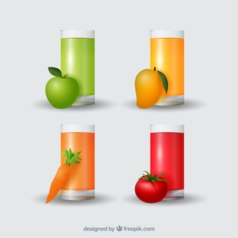Pack de quatro sucos de frutas realistas