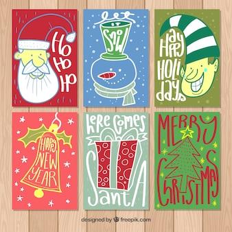 Pack de seis cartões de natal desenhados a mão