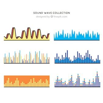 Pack de seis ondas sonoras com variedade de desenhos