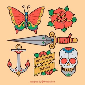 Pack de tatuagens de objetos desenhados à mão