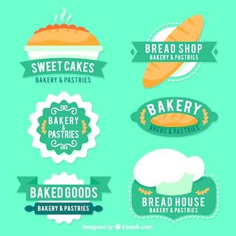 Pack of desenhado à mão emblemas da padaria do vintage