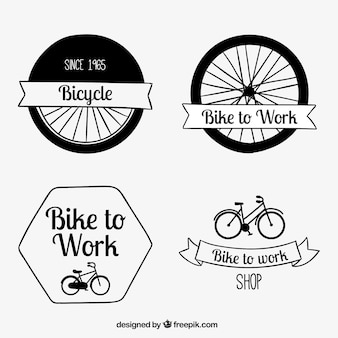 Pack of desenhado à mão emblemas retro bicicleta
