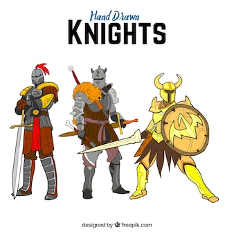 Pack of hand drawn three knights guerreiros