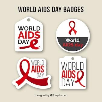 Pack of mundial do sida emblemas dia em design plano