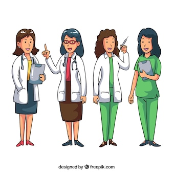 Pack of smiley female doctors at work