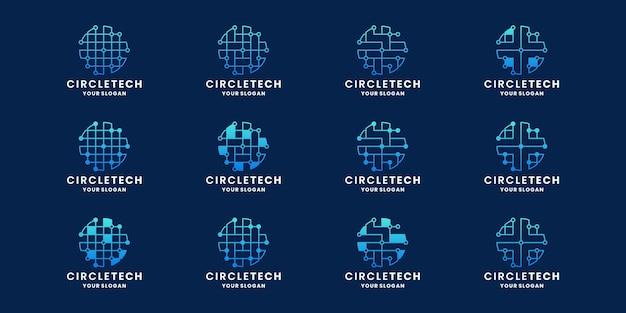 Pacote abstrato círculo tecnologia conceito logotipo design ponto conexão